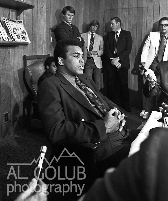 Modesto, California, May 18, 1971.Sportsmen of Stanislaus Club invited Muhammad Ali to speak in Modesto.  In the past, the SOS Club had hosted other boxing greats such as Max Baer, Jack Dempsey, Joe Louis, Rocky Marciano and Joe Frazier. One month later in June of 1971, the Supreme Court ruled in favor of Ali on the issue of his draft evasion conviction, clearing the way for him to box and eventually regain his title.  SOS was a male-only organization at that time and charged $5.00 per dinner ticket..Photo By Al Golub/Golub Photography.