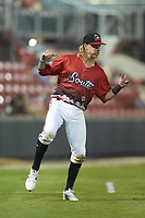 Tucker Neuhaus (5) of the Carolina Mudcats between innings of the 2018 Carolina League All-Star Classic at Five County Stadium on June 19, 2018 in Zebulon, North Carolina. The South All-Stars defeated the North All-Stars 7-6.  (Brian Westerholt/Four Seam Images)