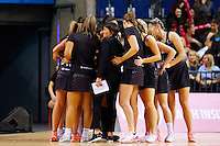 10.02.2017 Silver Ferns coach Janine Southby with the team in a half time huddle during the Silver Ferns v England Roses Vitality Netball International Series test match played at the Echo Arena in Liverpool. Mandatory Photo Credit © Paul Greenwood/Michael Bradley Photography.