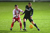 Mark McKee of Stevenage and Will Collar of Brighton during Stevenage vs Brighton & Hove Albion Under-21, Checkatrade Trophy Football at the Lamex Stadium on 7th November 2017