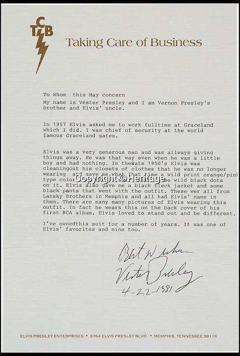 BNPS.co.uk (01202 558833)<br /> Pic: Heritage/BNPS<br /> <br /> ***Please Use Full Byline***<br /> <br /> A letter from Elvis' uncle, Vestor Presley.<br /> <br /> The outfit Elvis Presley was wearing when he signed the momentous recording contract that rocketed him to international stardom has emerged for sale for 24,000 pounds.<br /> <br /> Despite being just 20 when he put pen to paper, Elvis was already the hottest thing in country music and was snapped up by record label giant RCA for a whopping 40,000 dollars - the equivalent of almost 400,000 dollars or 237,000 pounds today.