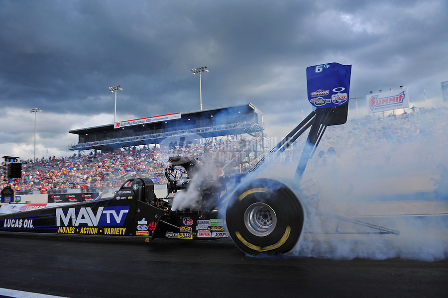 Mar. 9, 2012; Gainesville, FL, USA; NHRA top fuel dragster driver Brandon Bernstein during qualifying for the Gatornationals at Auto Plus Raceway at Gainesville. Mandatory Credit: Mark J. Rebilas-