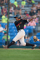 Tracy Hadley (1) of the Great Falls Voyagers follows through on his swing against the Helena Brewers at Centene Stadium on August 18, 2017 in Helena, Montana.  The Voyagers defeated the Brewers 10-7.  (Brian Westerholt/Four Seam Images)