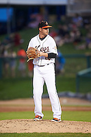 Frederick Keys relief pitcher Michael Zouzalik (28) during a game against the Carolina Mudcats on June 4, 2016 at Nymeo Field at Harry Grove Stadium in Frederick, Maryland.  Frederick defeated Carolina 5-4 in eleven innings.  (Mike Janes/Four Seam Images)