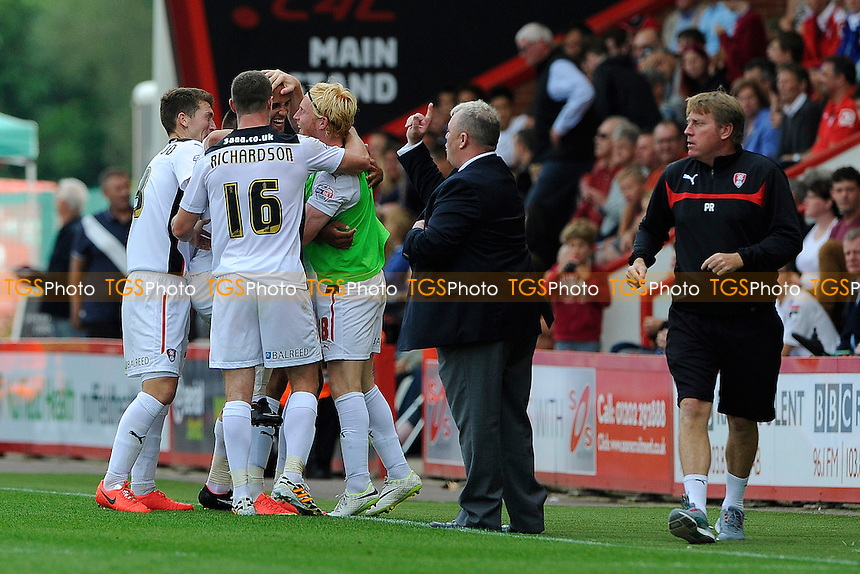 Rotherham United Manager Steve Evans makes a loint as goalscorer Jordan Bowery of Rotherham United is congratulated - AFC Bournemouth vs Rotherham United - Sky Bet Championship Football at the Goldsands Stadium, Kings Park, Boscombe, Bournemouth, Dorset - 13/09/14 - MANDATORY CREDIT: Denis Murphy/TGSPHOTO - Self billing applies where appropriate - contact@tgsphoto.co.uk - NO UNPAID USE