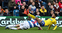 Leeds United's Tyler Roberts is brought down by Queens Park Rangers' Jake Bidwell<br /> <br /> Photographer Andrew Kearns/CameraSport<br /> <br /> The Emirates FA Cup Third Round - Queens Park Rangers v Leeds United - Sunday 6th January 2019 - Loftus Road - London<br />  <br /> World Copyright &copy; 2019 CameraSport. All rights reserved. 43 Linden Ave. Countesthorpe. Leicester. England. LE8 5PG - Tel: +44 (0) 116 277 4147 - admin@camerasport.com - www.camerasport.com