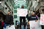 SACRAMENTO, CALIFORNIA - MARCH 3, 2019: A group of young protestors protest the Sacramento County District Attorney's decision to not charge the Sacramento Police Department officers who shot an unarmed Stephon Clark in 2018 outside the Arden Fair Mall. Mall management closed the mall Sunday after an overnight sit-in by protestors. CREDIT: Max Whittaker for The New York Times