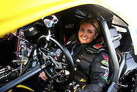 Sep 27, 2013; Madison, IL, USA; NHRA pro stock driver Erica Enders-Stevens during qualifying for the Midwest Nationals at Gateway Motorsports Park. Mandatory Credit: Mark J. Rebilas-