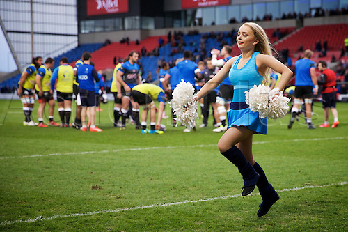 08.04.2016. AJ Bell Stadium, Salford, England. European Champions Cup. Sale versus Montpellier. A cheerleader entertains the crowd as Montpellier warm up.