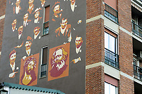 - Milano, quartiere Ortica, dipinto murale storico, Ges&ugrave; Cristo e Carlo Marx<br /> <br /> - Milan, Ortica district, historical wall painting, Jesus Christ and Karl Marx