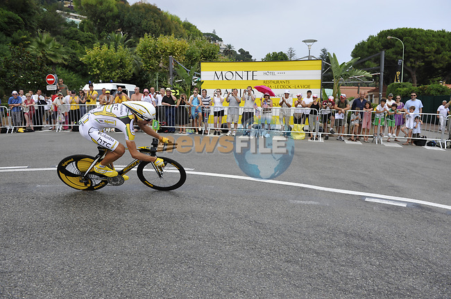 Columbia team rider Maxime Monfort (BEL) rounds the hairpin during the 1st stage prologue of the 2009 Tour de France in Monaco, 4th July 2009 (Photo by Eoin Clarke/NEWSFILE)