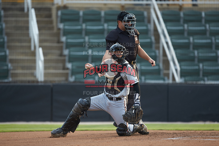 Delmarva Shorebirds catcher Ben Breazeale (12) gets a new baseball from home plate umpire Colin Baron during the game against the Kannapolis Intimidators at Kannapolis Intimidators Stadium on June 3, 2019 in Kannapolis, North Carolina. The Shorebirds defeated the Intimidators 5-3. (Brian Westerholt/Four Seam Images)