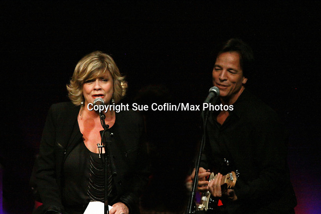 One Life To Live and Guiding Light Kim Zimmer and Bradley Cole sing at the 7th Annual Rock Show For Charity hosted by Kristen Alderson and Gina Tognoni and Bradley Cole to benefit American Red Cross - disaster relief efforts in Japan on October 8, 2011 at the SoHo Playhouse, New York City, New York. (Photo by Sue Coflin/Max Photos)