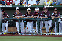 Mississippi State Bulldogs Bench Mob during Game 6 of the 2013 Men's College World Series between the Indiana Hoosiers and Mississippi State Bulldogs at TD Ameritrade Park on June 17, 2013 in Omaha, Nebraska. (Brace Hemmelgarn/Four Seam Images)