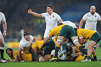 Ben Youngs of England appeals to Referee Romain Poite of France during Match 26 of the Rugby World Cup 2015 between England and Australia - 03/10/2015 - Twickenham Stadium, London<br /> Mandatory Credit: Rob Munro/Stewart Communications