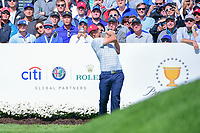 Kevin Chappell (USA) watches his tee shot on 4 during round 3 Four-Ball of the 2017 President's Cup, Liberty National Golf Club, Jersey City, New Jersey, USA. 9/30/2017.<br /> Picture: Golffile | Ken Murray<br /> <br /> All photo usage must carry mandatory copyright credit (&copy; Golffile | Ken Murray)