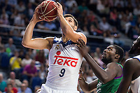 Real Madrid's player Felipe Reyes and Unicaja Malaga's player Viny Okouo during match of Liga Endesa at Barclaycard Center in Madrid. September 30, Spain. 2016. (ALTERPHOTOS/BorjaB.Hojas) /NORTEPHOTO.COM