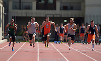 Apr 11, 2015; Los Angeles, CA, USA; Jeh Johnson of Occidental College places fifth in the 100m in 11.06 in a SCIAC multi dual meet at Occidental College. From left: Robert Oshodin (La Verne), Joey Colucci (Redlands), Johnson and Myles Speegle (Redlands) and Ryan Abele (Pomona-Pitzer). Photo by Kirby Lee