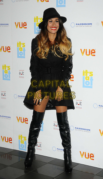 Preeya Kalidas<br /> The &quot;It's A Lot&quot; UK film premiere, Vue West End cinema, Leicester Square, London, England.<br /> October 21st, 2013<br /> full length black jacket mac hat otk over the knee high boots  dip dye blonde hair <br /> CAP/CAN<br /> &copy;Can Nguyen/Capital Pictures