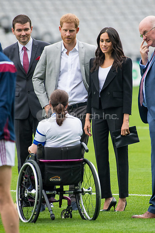 Prince Harry and Meghan, The Duke and Duchess of Sussex visit Croke Park in Dublin, on July 11, 2018, home of Ireland's largest sporting organisation: the Gaelic Athletic Association, on the last of a 2 days visit to Dublin  <br /> Photo : Albert Nieboer / /DPA /MediaPunch ***FOR USA ONLY***