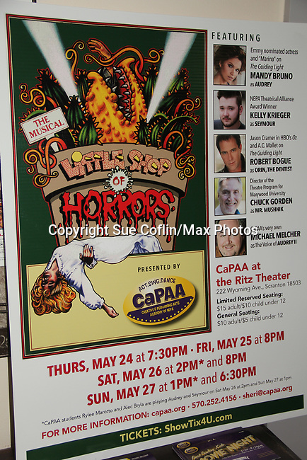 "- Guiding Light's Mandy Bruno and Robert Bogue and Kelly Krieger star in Lilttle Shop of Horrors The Musical on May 27, 2018 presented by CaPAA at the Ritz Theater in Scranton, PA. Mandy is ""Audrey"", Robert is ""Orian, Berstein, Luce, Snip, Martin"" and Kelly is ""Seymour"". Mandy is  also the director, set designer, video projection production, props and costumes.. (Photo by Sue Coflin/Max Photo)"