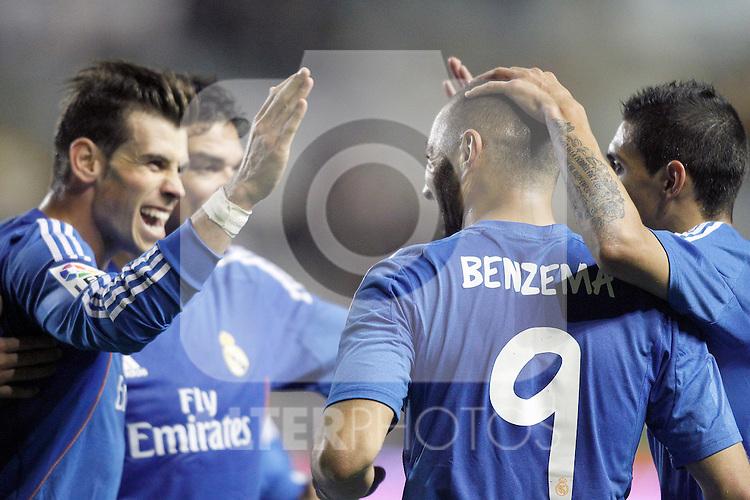 Real Madrid's Karim Benzema celebrates goal with his partners Garet Bale (l), Pepe (2l) and Angel Di Maria (r) during La Liga match.November 22,2013. (ALTERPHOTOS/Acero)