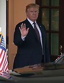 United States President Donald J. Trump waves to the media as he walks Prime Minister Viktor Orban of Hungary to his car at the White House in Washington, DC on Monday, May 13, 2019.  The two leaders met for about an hour and a half.<br /> Credit: Ron Sachs / CNP