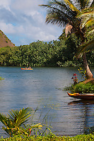 Kayakers enjoying the Wailua River, Kauai.
