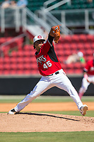 Carolina Mudcats relief pitcher Freddy Peralta (45) in action against the Winston-Salem Dash at Five County Stadium on May 14, 2017 in Zebulon, North Carolina.  The Mudcats walked-off the Dash 11-10.  (Brian Westerholt/Four Seam Images)