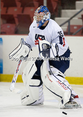 Brandon Maxwell (US White - 35) - Team Sweden defeated Team USA White 7-3 on Friday, August 8, 2008, in the 1980 Rink during the 2008 US National Junior Evaluation Camp and Summer Hockey Challenge in Lake Placid, New York.