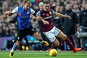 4th November 2017, Villa Park, Birmingham, England; EFL Championship football, Aston Villa versus Sheffield Wednesday; Jordan Rhodes of Sheffield Wednesday and James Chester of Aston Villa compete for the ball
