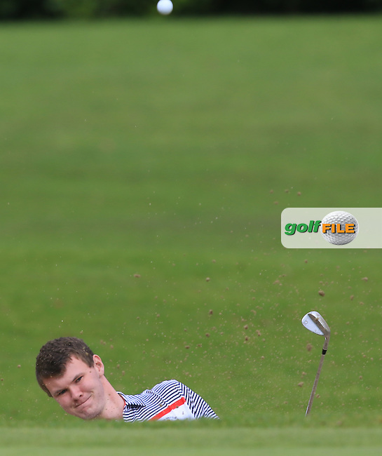 David Brady (Co. Sligo) plays out of a bunker onto the 1st green during the AIG Senior Cup Final at Carton House Golf Club during the AIG Cups &amp; Shields All Ireland Finals on Saturday 17/09/16.<br /> Picture: Thos Caffrey | Golffile<br /> <br /> All photos usage must carry mandatory copyright credit   (&copy; Golffile | Thos Caffrey)