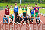 Under 13 chilkdren from athletic clubs around Kerry who partiapated in the Gneeveguilla Athletic Club 34tyhj Annaul open juvenile sports day the children under 13 took part in the long jump. Front l-r: Emmet Cronin (Gneeveguilla), John Horgan (Listowel), Jack Falvey (Spa Muckross), Pádraic Linnane (Tralee Harriers), Peter O'Sullivan (Spa Muckross), Aaron Malik and Liam Rice (St Brendan.s Ardfert). Back l-r: Darragh Leen (Listowel), Garry Cronin (Gneeveguilla), Sean Quilter (Tralee Harriers),Donal O'Sullivan, Darragh Fleming, and Sean Doherty (Gneeveguilla), Mark Cooper (Spa Muckross) and Cathal McCarthy(Gneeveguilla)...