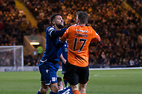 8th November 2019; Dens Park, Dundee, Scotland; Scottish Championship Football, Dundee Football Club versus Dundee United; Kane Hemmings of Dundee clashes with Jamie Robson of Dundee United  - Editorial Use
