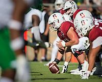 Stanford, CA - September 21, 2019: Drew Dalman at Stanford Stadium. The Stanford Cardinal fell to the Oregon Ducks 21-6.