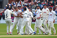 Jamie Porter of Essex is congratulated by his team mates after taking the wicket of Adam Lyth during Yorkshire CCC vs Essex CCC, Specsavers County Championship Division 1 Cricket at Scarborough CC, North Marine Road on 7th August 2017