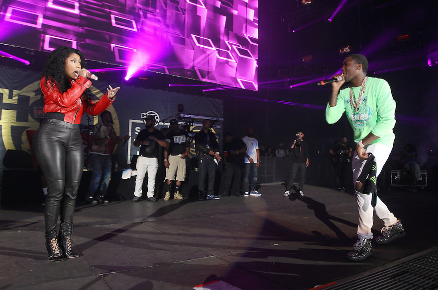 Nicki Minaj and Meek Mill are seen performing at Hot 97 Summer Jam at MetLife Stadium on Sunday, June 07, 2015, in East Rutherford, New Jersey. (Photo by Donald Traill/Invision/AP)