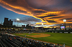 The sunset lights up the sky over Greater Nevada Field in Reno, Nev., on Sunday, July 17, 2016.<br />Photo by Cathleen Allison