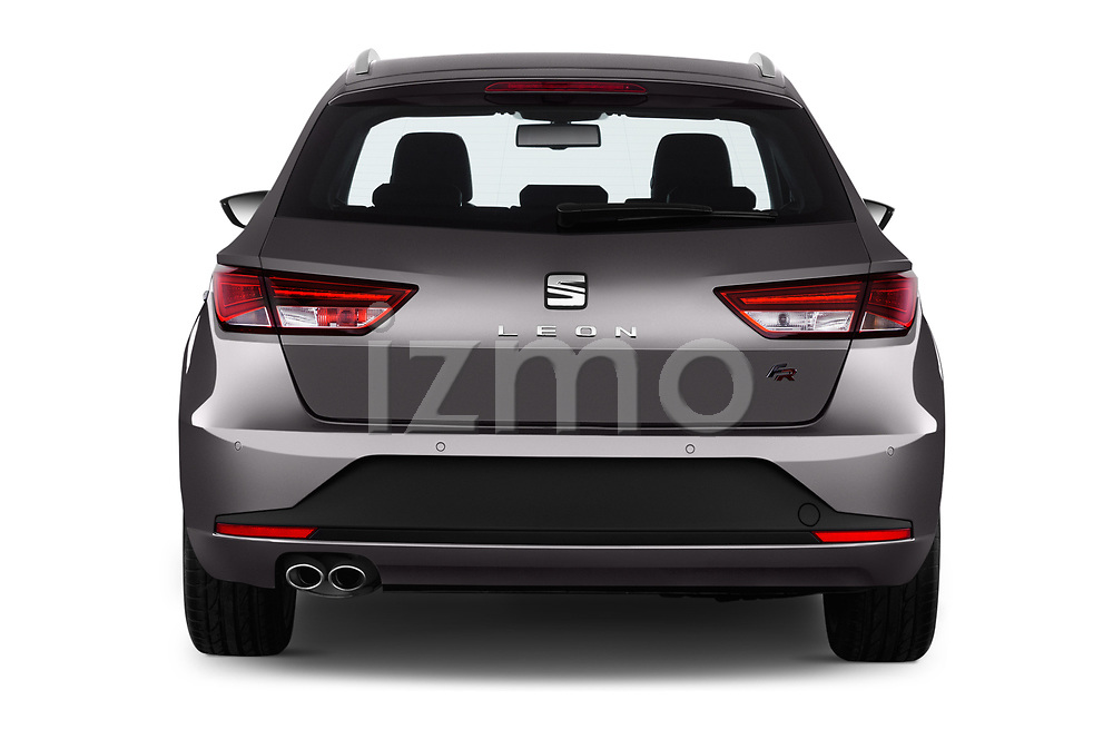 Straight rear view of 2017 Seat Leon-ST FR 5 Door Wagon Rear View  stock images