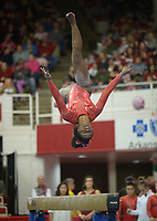 NWA Democrat-Gazette/ANDY SHUPE<br />Arkansas' Hailey Garner competes Friday, Jan. 12, 2018, in the beam portion of the 11th-ranked Razorbacks' meet with sixth-ranked Kentucky in Barnhill Arena in Fayetteville. Visit nwadg.com/photos to see more photographs from the meet.