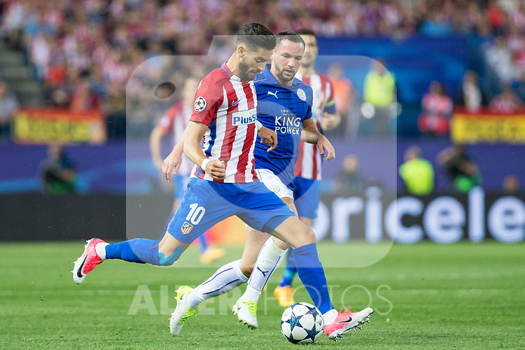 Yannick Ferreira Carrasco of Atletico de Madrid competes for the ball with Danny Drinkwater of Leicester City Football Club  during the match of  Champions LEague between  Atletico de Madrid and LEicester City Football Club at Vicente Calderon  Stadium  in Madrid, Spain. April 12, 2017. (ALTERPHOTOS / Rodrigo Jimenez)