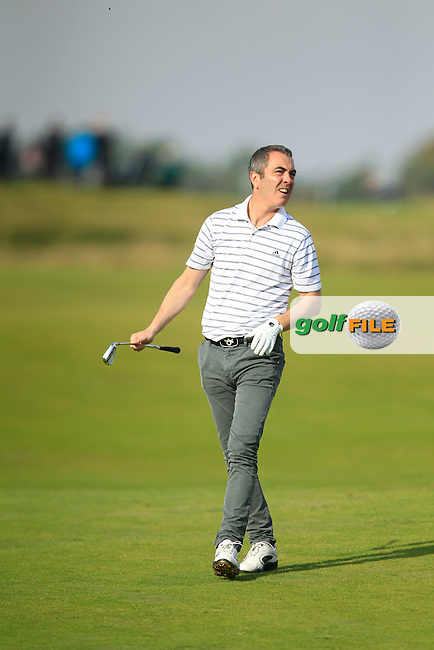James Nesbitt during Round 3 of the Alfred Dunhill Links Championship at Kingsbarns Golf Club on Saturday 28th September 2013.<br /> Picture:  Thos Caffrey / www.golffile.ie