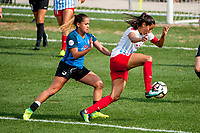 Kansas City, MO - Saturday September 9, 2017: Lo'eau Labonta, Christen Press during a regular season National Women's Soccer League (NWSL) match between FC Kansas City and the Chicago Red Stars at Children's Mercy Victory Field.