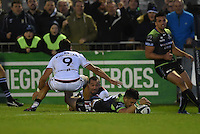 15/10/2016; European Rugby Champions Cup Round 1, Connacht vs Toulouse; Sportsground, Galway<br /> Connacht's Tiernan O&rsquo;Halloran scores a try.<br /> Photo Credit: actionshots.ie/Tommy Grealy