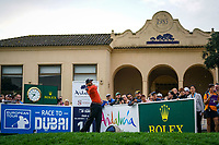 Sergio Garcia (ESP) tees off the 10th tee during Monday's storm delayed Final Round 3 of the Andalucia Valderrama Masters 2018 hosted by the Sergio Foundation, held at Real Golf de Valderrama, Sotogrande, San Roque, Spain. 22nd October 2018.<br /> Picture: Eoin Clarke | Golffile<br /> <br /> <br /> All photos usage must carry mandatory copyright credit (&copy; Golffile | Eoin Clarke)