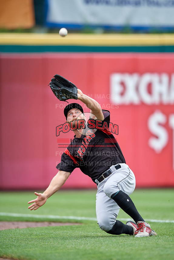 Indianapolis Indians outfielder Logan Hill (35) slides to catch a fly ball during an International League game against the Buffalo Bisons on June 20, 2019 at Sahlen Field in Buffalo, New York.  Buffalo defeated Indianapolis 11-8  (Mike Janes/Four Seam Images)