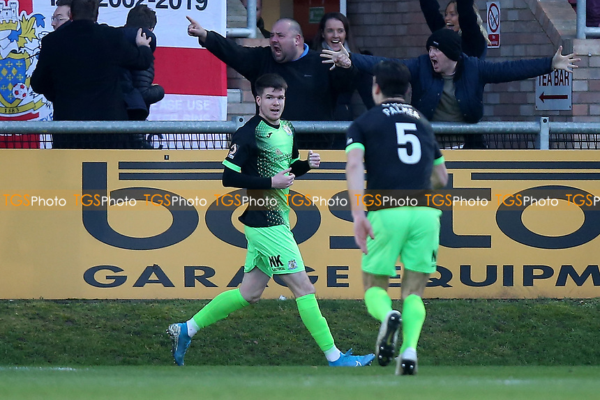 Liam McAlinden of Stockport scores the first goal for his team and celebrates during Dagenham & Redbridge vs Stockport County, Vanarama National League Football at the Chigwell Construction Stadium on 8th February 2020