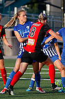 Rochester, NY - Friday May 27, 2016: Boston Breakers midfielder Kristie Mewis (19) looks to impede Western New York Flash defender Alanna Kennedy (8). The Western New York Flash defeated the Boston Breakers 4-0 during a regular season National Women's Soccer League (NWSL) match at Rochester Rhinos Stadium.