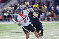 College Park, MD - April 1, 2017: Maryland Terrapins Adam DiMillo (23) in action during game between Michigan and Maryland at  Capital One Field at Maryland Stadium in College Park, MD.  (Photo by Elliott Brown/Media Images International)