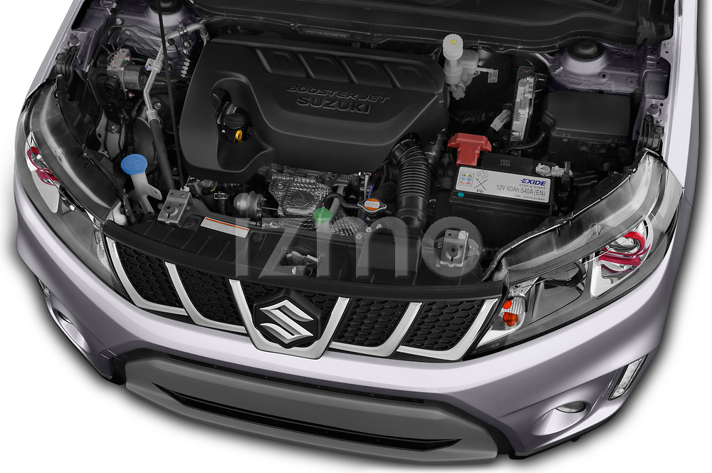 Car stock 2018 Suzuki Vitara GLX  S 5 Door SUV engine high angle detail view
